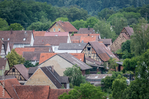 Fotobehang Groen blauw Knittlingen - Kleinvillars