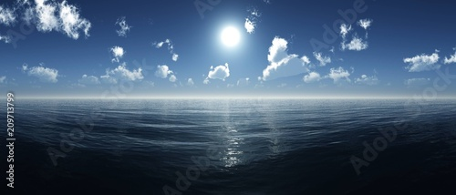 sea sunrise, ocean sunset, the sun in the clouds over the water, 3D rendering