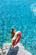 Leinwanddruck Bild - A Woman Enjoying Summer Vacation
