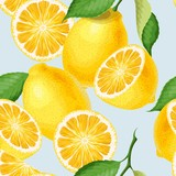 Seamless pattern with lemons - 209715356