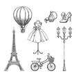 Travel to France hand drawn isolated design elements. Paris sketch vector illustration