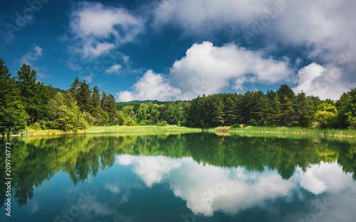 Foto Murales Panoramic view on mountain lake