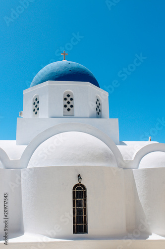 Church at Pyrgos town in Santorini island, Greece