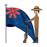 Anzac day design with australian flag and soldier standing guard over white background, vector illustration - 209721100