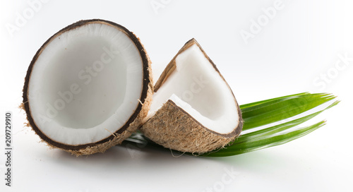 coconuts with leaves isolated on the white - 209729910