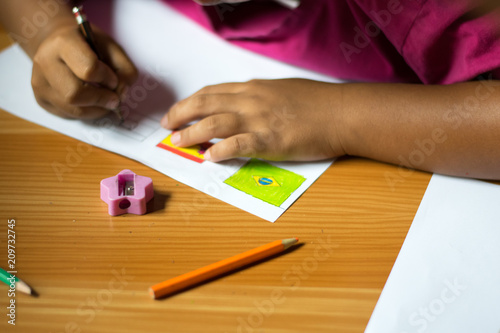 Foto Murales child drawing world cup national football flag,world cup concept