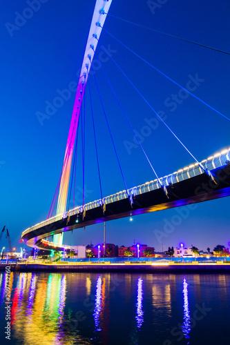 Dubai water canal bridge at night