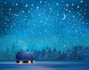 Vector winter wonderland background.
