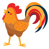 Cute rooster. Cartoon farm cock isolated on white - 209736737