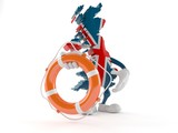 UK character holding life buoy - 209737578