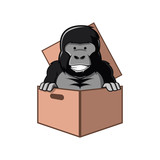 Gorilla Cartoon in Box Cardboard Package - 209741778