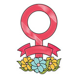 female symbol with beautiful flowers  over white background, colorful design. vector illustration - 209742195