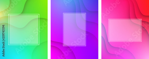 Colorful wavy backgrounds with white frame.