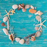 circle of sea shells with copy space in center. overhead view - 209743722