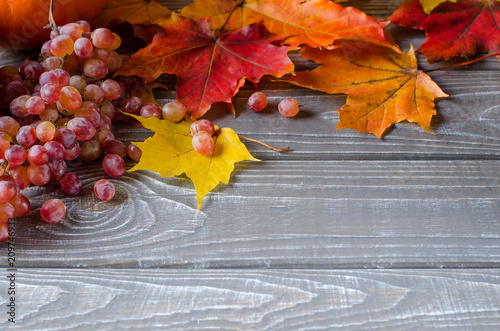 Autumn background on boards