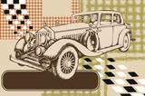 Vintage avto. Engraved style. Vector illustration