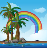A Paradise Island and Rainbow - 209753547