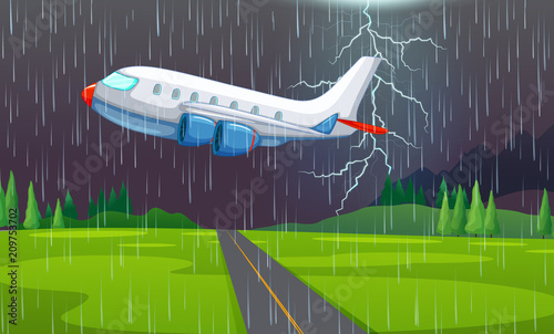 Aluminium Kids An Airplane Flying in Thunderstorm