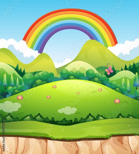 Aluminium Lime groen A Mountain Landscape and Rainbow