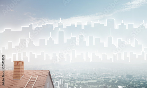 Sticker Concept of real estate and construction with drawn silhouette on big city background
