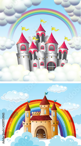 Fotobehang Kids A Beautiful Fairytale Castle in Sky