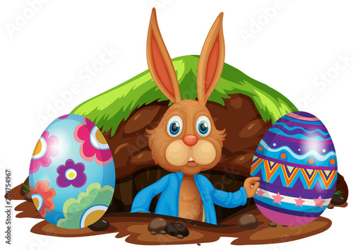 Fotobehang Kids Easter Bunny and Colourful Eggs