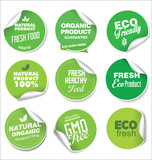 Collection of green labels and badges for organic and natural products - 209756170