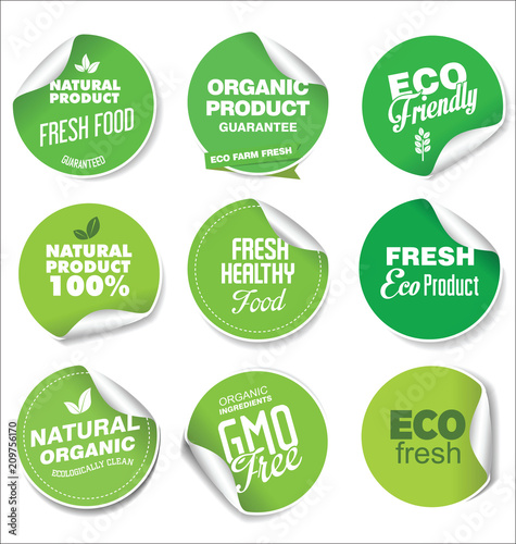 Collection of green labels and badges for organic and natural products