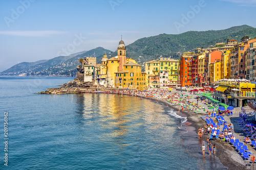 italian riviera colorful beach landscape of the Camogli village in Liguria - Genoa province