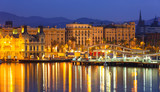 Port Vell at Barcelona in night.  Spain
