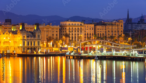 Port Vell at Barcelona in night.  Spain