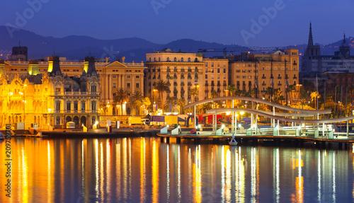 Aluminium Barcelona Port Vell at Barcelona in night. Spain