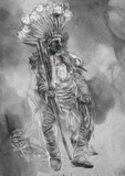 Indian Chief, Portrait of an North Native American. - 209760360