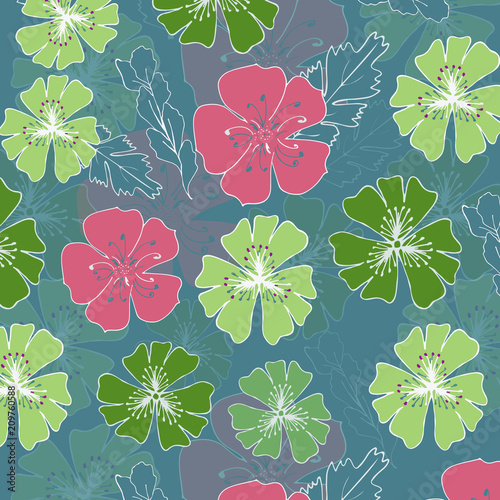 Flowers pink and green in a flower background. Flowers in spring - 209760588