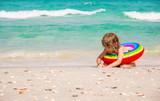 Child girl bathes on the sea and in the pool. Tunisia Mahdia. Selective focus.