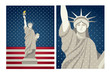 Statue of Liberty vector vintage design for 4th of July USA Independence day  - statue of liberty beautiful details illustration