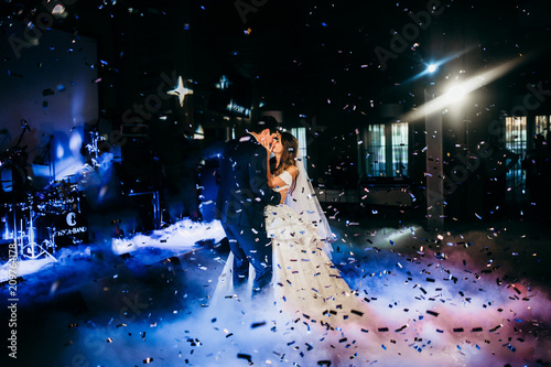 Wedding dance of happy couple in the restaurant  - 209764178