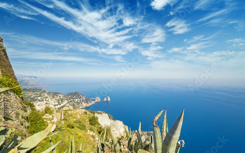 Leinwanddruck Bild Aerial view of Faraglioni rocks from Monte Solaro at Capri, Italy
