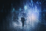 Man walks alone in dark blue colored forest landscape with abstract cyberspace background. - 209770384