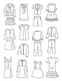 Contours of school clothes for girls, dresses, pants, blous,jackets and  etc., isolated on white background - 209770590
