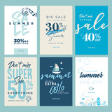 Summer sale banners. Vector illustrations of online shopping ads, posters, newsletter designs, coupons, mobile and social media banner templates, marketing material. - 209771703