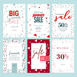 Summer sale banners. Vector illustrations of online shopping ads, posters, newsletter designs, coupons, mobile and social media banner templates, marketing material. - 209771785