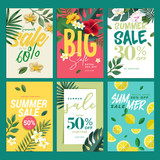 Eye catching summer sale mobile banners, ads and posters collection. Vector illustrations concept for shopping, e-commerce, internet advertising, social media ads and banners, marketing material. - 209772100