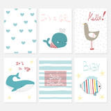 Set of cute marine baby shower cards with animals. Vector hand drawn illustration. - 209776146