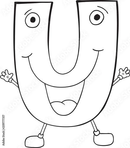 Fotobehang Cartoon draw Cute Happy Letter U Vector Illustration Art