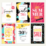 Eye catching summer sale mobile banners, ads and posters collection. Vector illustrations concept for shopping, e-commerce, internet advertising, social media ads and banners, marketing material. - 209777579