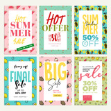 Set of mobile ads and posters. Summer sale banners. Vector illustrations concept for online shopping, e-commerce, internet advertising, social media ads and banners, marketing material. - 209777988