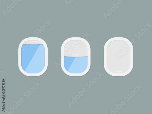 Three portholes of airplane with open and closed window. View from the porthole. Vector illustration in flat style - 209779330