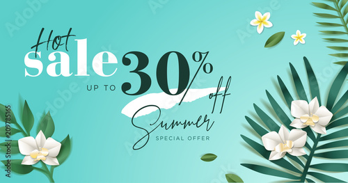 Summer sale. Vector illustration concept for mobile and web banner, poster, online shopping ads, social media and networking, marketing material. - 209785165