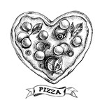 Pizza in the form of a heart. Italian cuisine. Ink hand drawn Vector illustration. Top view. Food element for menu design. - 209785573